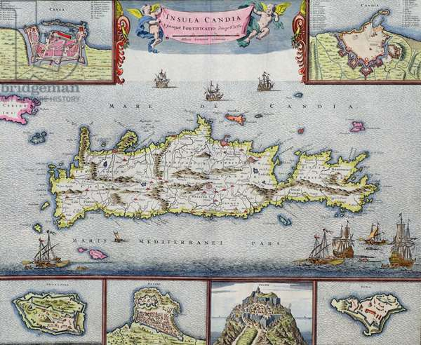 Map of the Island of Candia (Crete) with the sea port of Herakleion, c.1680 (coloured engraving)
