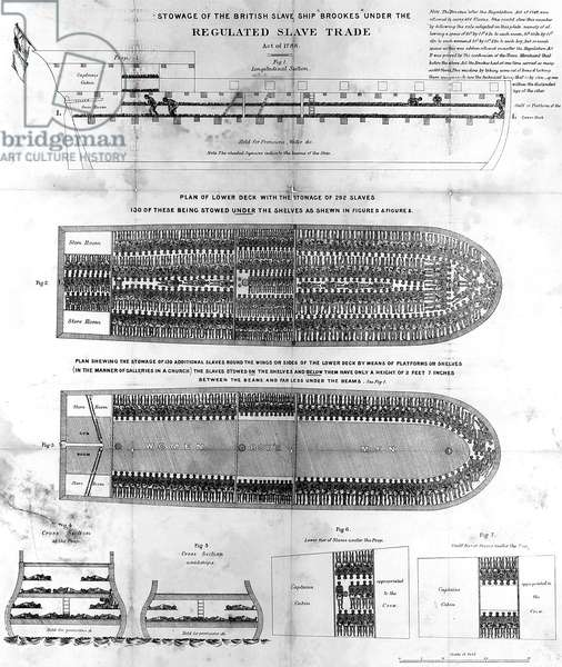 Stowage of the British Slave Ship 'Brookes' Under the Regulated Slave Trade Act of 1788 (engraving) (b/w photo)