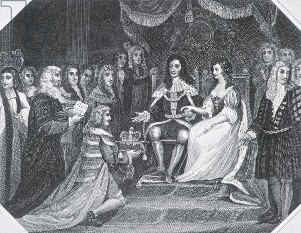 Presentation of the Bill of Rights to William III (1650-1702) of Orange and Mary II (1662-94) (engraving) (b/w photo)