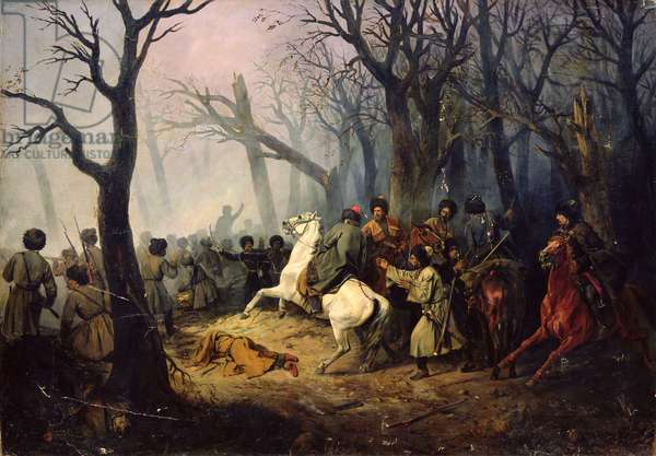 The Death of General Sleptsov in the Caucasus, 10th December, 1851 (oil on canvas)