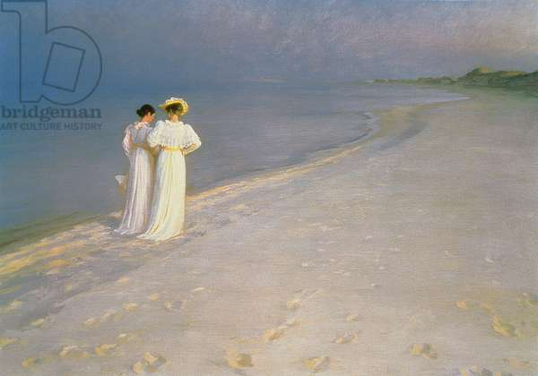 Summer Evening on the Skagen Southern Beach with Anna Ancher and Marie Kroyer, 1893 (oil on canvas)