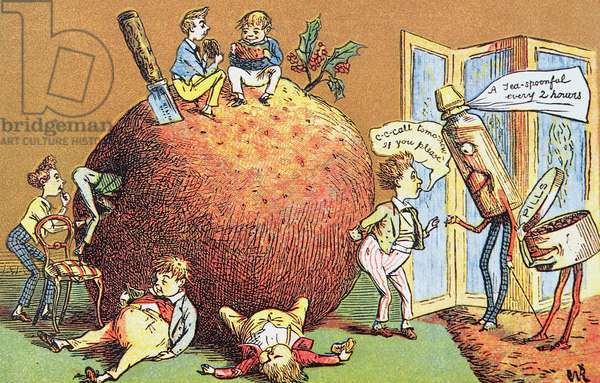 The Christmas Pudding, a Victorian christmas card (colour engraving)