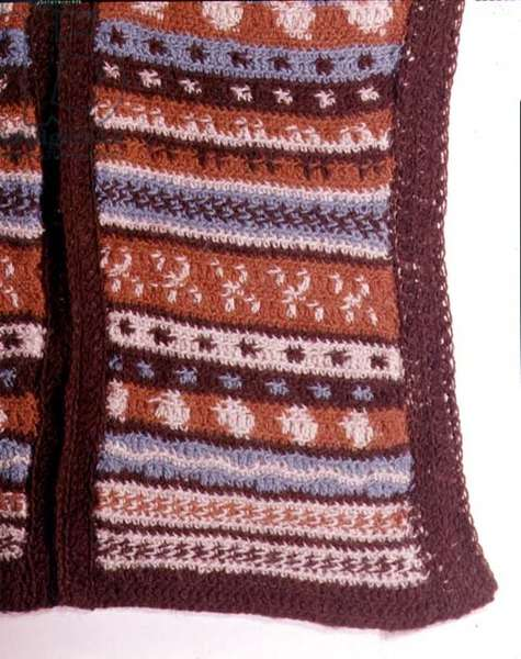 Example of crochet work in coloured wools