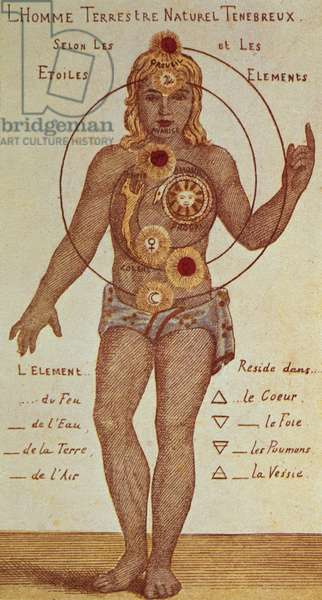"""Illustration from """"Theosophica Practica"""", showing the seven Chakras, 19th century"""