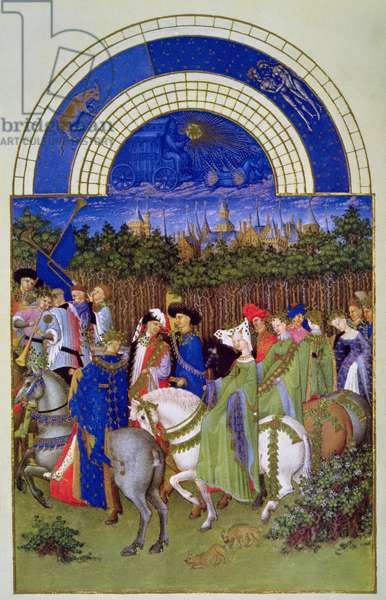 Facsimile of May: Courtly Figures on Horseback, from 'Les Tres Riches Heures du Duc de Berry' (vellum) (for original see 8437)