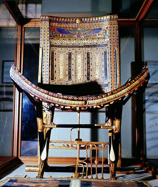 Ecclesiastical chair, from the tomb of Tutankhamun (c.1370-52 BC) in the Valley of the Kings at Thebes, New Kingdom (inlaid ebony) (see also 149419)