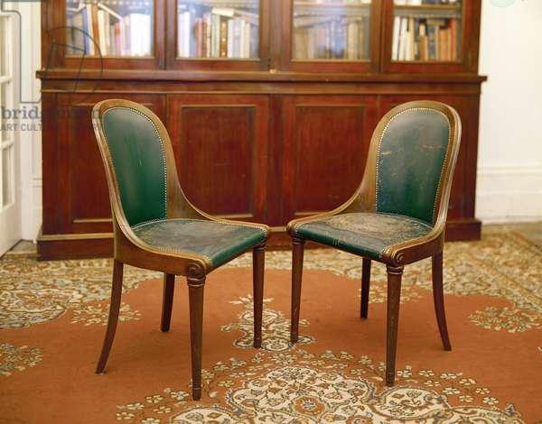 Pair of chairs, oak, German or Austrian, c.1830