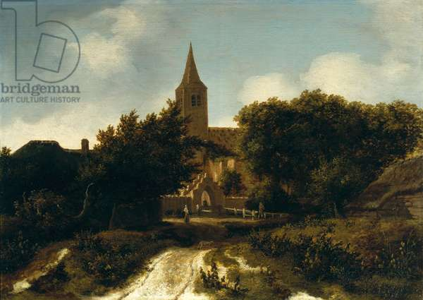 Wooded Landscape with Figures near a Church, c.1660 (oil on panel)