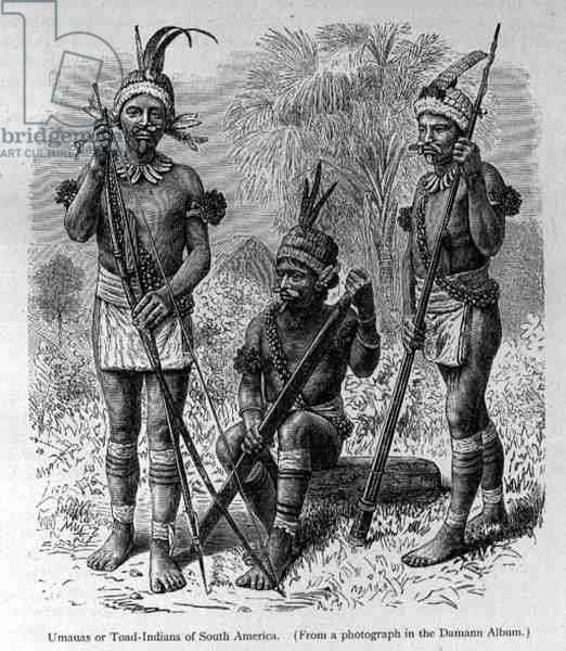 Umauas or Toad Indians of South America, from 'The History of Mankind' by Prof. Friedrich Ratzel, pub. in 1904 (engraving)
