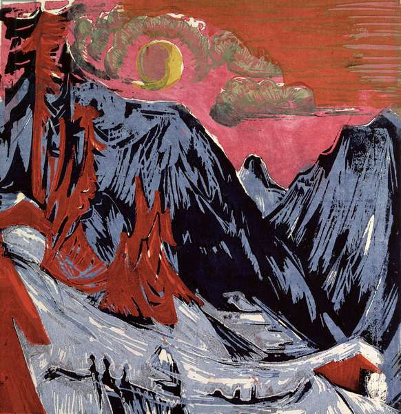 Mountains in Winter, 1919 (colour litho)