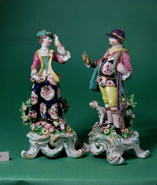 Pair of Bow figures of a Sportsman and his Companion, c.1760 (porcelain)