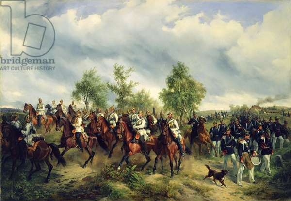 Prussian cavalry on expedition (oil on canvas)