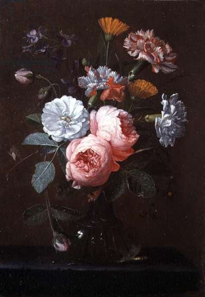 Still Life of Roses, Carnations and Other Flowers (oil on panel)