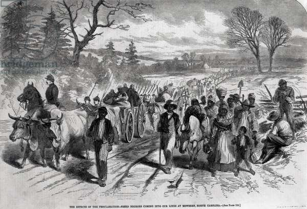 The Effects of the Proclamation: Freed Negroes Coming into Our Lines at Newbern, North Carolina, from 'Harper's Weekly', 1863 (engraving) (b&w photo)