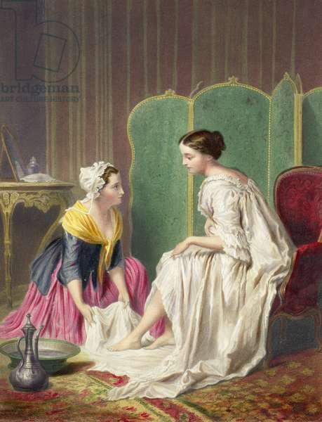 Maid Washing her Mistress' Feet (coloured print)