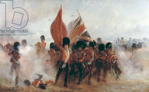 The Colours: advance of the Scots Guards at the Alma, 1899 (oil on canvas)