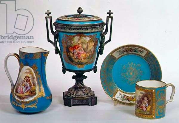 Sevres blue celeste jug, mug, urn and plate, all early 18th century (porcelain)