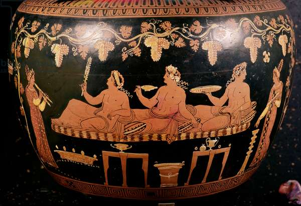 Symposium showing three men playing cottabos with a female musician and servant, detail from a red figured amphora, Greek, late 5th century BC (ceramic)