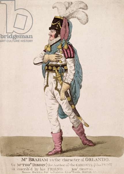 Mr. Braham in the character of Orlando from Shakespeare's 'As You Like It', pub. 1802 (coloured engraving)