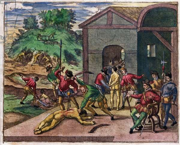 Cruelty of the Spanish Colonists towards the Indians, Mexico, c.1550 (engraving)