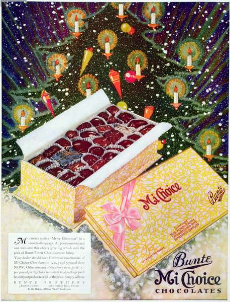 Advertisement for Bunte's Mi Choice Chocolates, December 1930