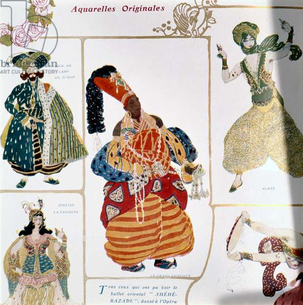 The Great Eunuch, costume design for Diaghilev's production of the ballet 'Scheherazade', 1910 (litho)