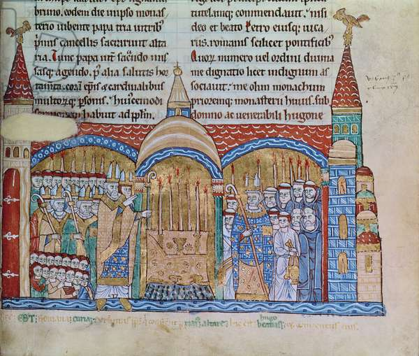 Ms Lat 17716 fol.91 The Consecration of the Church at Cluny by Pope Urban II (1042-99) in November 1095 (vellum)