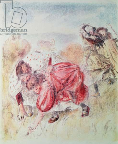 Young Girls Playing (coloured pencil)