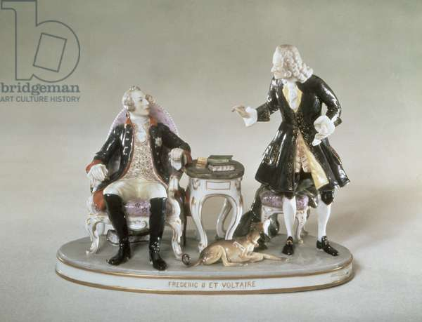 Porcelain figure of Frederick II of Prussia (1712-86) and Francois Voltaire (1694-1778) French (porcelain)