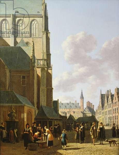 The Grote Markt, Haarlem, looking west (oil on panel)