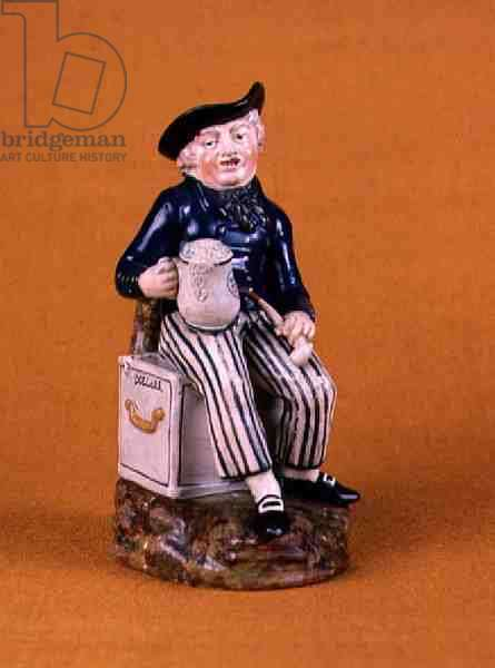 Sailor with pipe and beer seated on a chest of dollars (painted & glazed earthenware) (see also 66781)