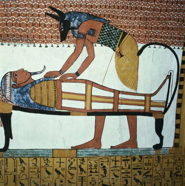 Anubis and a Mummy, from the Tomb of Sennedjem, The Workers' Village, New Kingdom (mural) (see also 141757)