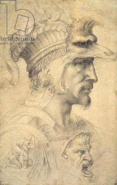 Ideal head of a warrior (black chalk on paper)
