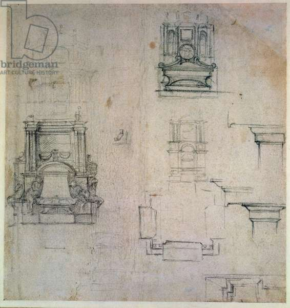 Inv. 1859 6-25-545. R. (W. 25) Designs for tombs (red chalk)
