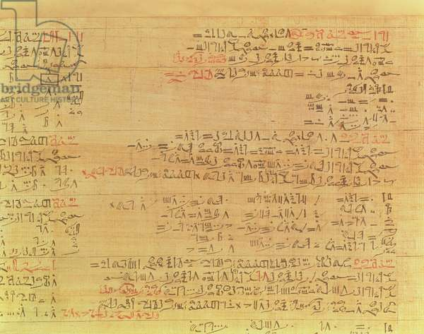 Detail of the Rhind Mathematical Papyrus, Hyksos period, 15th Dynasty, c.1550 BC (papyrus) (see also 9712)