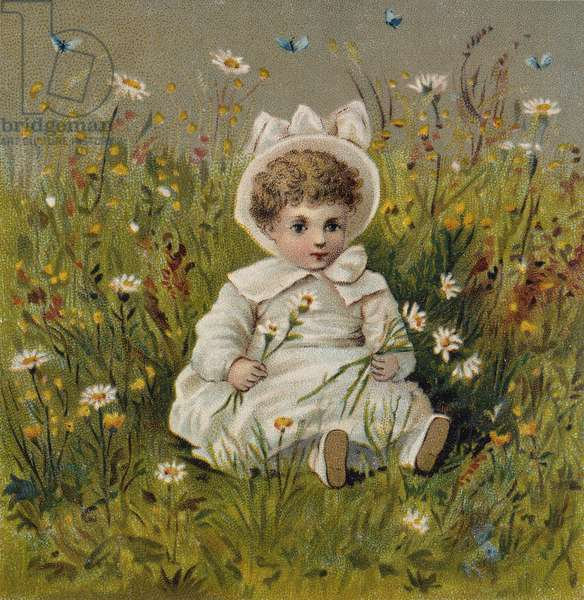 Young Girl with Daisies and Butterfly, Victorian card