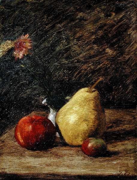 Still life with a Pear (oil on canvas)