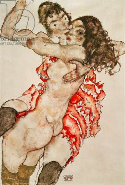 Two Women Embracing, 1915 (pencil, w/c & gouache on paper)