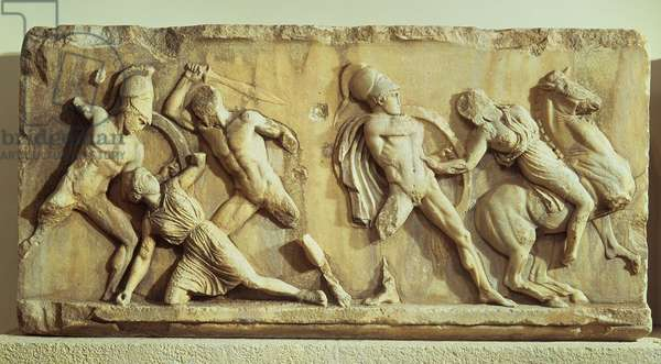 The Battle of the Greeks and the Amazons, part of the frieze from the Mausoleum of Halicarnassus, c.350 BC (marble)