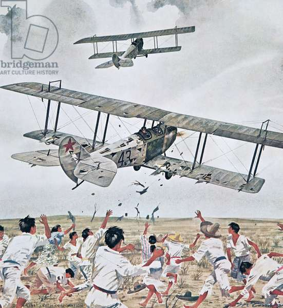 Curtiss JN4s Attacking Pancho Villa's Men During the Mexican Punitive Expedition, 1916 (book illustration, 1961, Leach Corporation)
