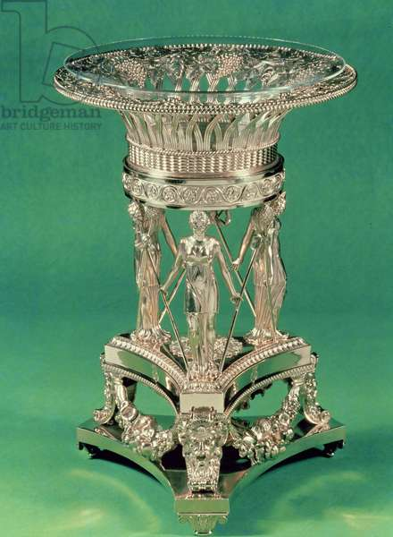 Fruit bowl and stand, one of a pair, inscribed 'Rundell Bridge et Rundell Surifices Regis et Principis Walliae Londini', made by Paul Storr, London, 1810-11 (silver-gilt, with glass liner)