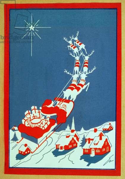 Santa Delivering Presents, Christmas card, 20th century