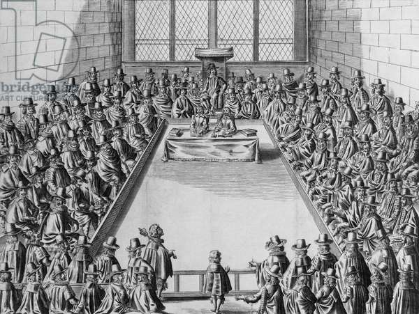 Parliament during the Commonwealth, 1650 (engraving) (b/w photo)