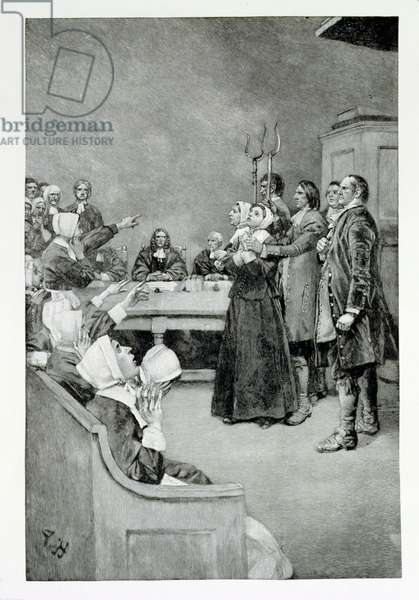 The Trial of a Witch, illustration from 'Giles Corey, Yeoman' by Mary E. Wilkins, pub. in Harper's Magazine, 1892 (litho)