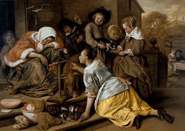 The Effects of Intemperance, c.1663-65 (oil on panel)