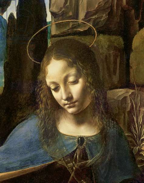 Detail of the Head of the Virgin, from The Virgin of the Rocks (The Virgin with the Infant Saint John adoring the Infant Christ accompanied by an Angel), c.1508 (oil on panel)