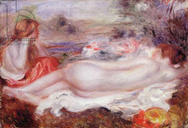 Bather reclining and a young girl doing her hair, 1896