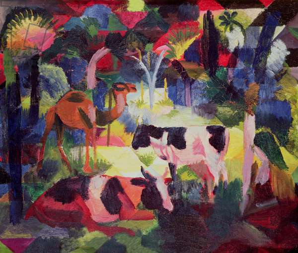 Landscape with Cows and a Camel (oil on canvas)