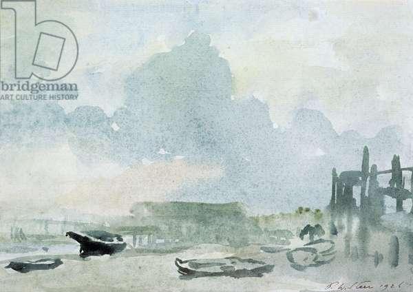 The Beach, Shoreham, 1928 (w/c on paper)