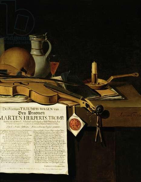 Vanitas still life homage to Admiral Marten Herpertszwoon Tromp, 1655
